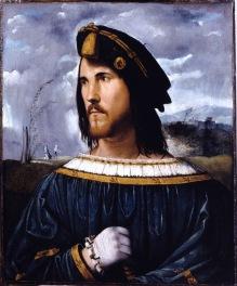 Altobello Melone (Cremona 1490/91 – Cremona ante 1543) Ritratto di gentiluomo (Cesare Borgia?), c. 1513 olio su tavola, cm 58.1 x 48.2 Bergamo, Accademia Carrara, inv. 81 LC 00157