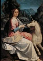 Luca Longhi (Ravenna 1507 – Ravenna 1580) Dama con Unicorno (Giulia Farnese?), 1535-1540 olio su tavola, cm 132 x 98 Roma, Museo Nazionale di Castel Sant'Angelo, inv. III/51
