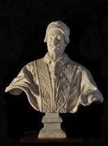 Giuseppe Mazzuoli (Volterra 1644 – Roma 1725) Busto di papa Alessandro VII Chigi, c. 1680 marmo, cm 77.5 x 71 x 37.5 Ariccia, Palazzo Chigi, inv. 1268