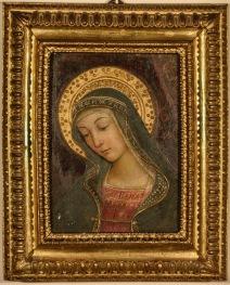 Bernardino di Betto, detto Pintoricchio (Perugia c. 1454 – Siena 1513) Madonna, frammento della distrutta Investitura divina di Alessandro VI, c. 1492-1493 dipinto murario entro cornice seicentesca, cm 39,5 x 28, 5 x 5 Collezione privata