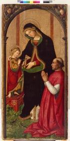 Bernardino di Betto, detto Pintoricchio (Perugia c. 1454 – Siena 1513) Madonna delle Febbri, c. 1497 olio su tavola, cm 158 x 77,3 Valencia, Museo de Bellas Artes de Valencia (colleción Real Academia de Bellas Artes de San Carlos), inv. 273