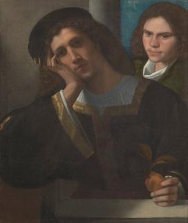 Giorgio da Castelfranco detto Giorgione (Castelfranco Veneto, 1477 c. – Venezia, 1510) Due amici 1502 c. Olio su tela, cm 77 x 66,5 Roma, Museo di Palazzo Venezia