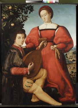 Vincenzo Tamagni (San Gimignano, 1492 – 1530 c.) Coppia in un giardino 1525-30 c. Olio su tavola, cm 124 x 91 Holkham Hall, Norfolk, collezione Coke