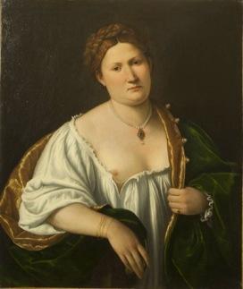 Bernardino Licinio (Venezia, 1485/89 – post 1549) Ritratto di donna che scopre il seno 1536 Olio su tela, cm 83 x 69 Bergamo, collezione privata
