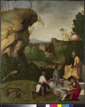 Giorgio da Castelfranco, detto Giorgione (Castelfranco Veneto 1477 c. - Venezia 1510) Fetonte davanti ad Apollo 1496-98 c. Olio su tavola, 59 x 48 cm Londra, The National Gallery