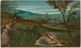 Giorgio da Castelfranco, detto Giorgione (Castelfranco Veneto 1477 c. - Venezia 1510) Leda e il cigno 1499-1500 Tavola, 12 x 19 cm Padova, Musei Civici, Museo d'Arte Medioevale e Moderna
