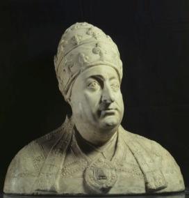 Mino da Fiesole (Poppi, 1429 – Firenze, 1484) Busto di Papa Paolo II Barbo 1464-1470 circa Marmo statuario, scolpito, cm 57 x 58 x 30,5; base cm 19,2 x 37 Roma, Palazzo Venezia