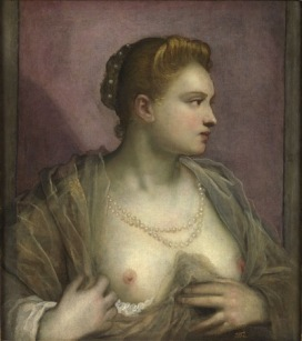 Domenico Tintoretto (Venezia, 1560 – 1635) Ritratto di donna che mostra il petto Nono decennio del XVI secolo Olio su tela, cm 61 x 55,6 Madrid, Museo del Prado