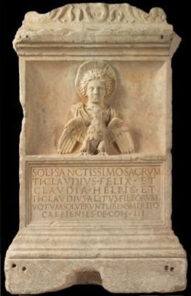 Altare dedicato al sole altissimo, Seconda metà I secolo d.C. Marmo greco, 84,5 x 53 x 53 cm Musei Capitolini di Roma