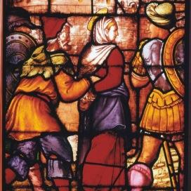 Giuseppe Arcimboldo Santa Caterina viene condotta in carce- re, ante 1556 Pannello di vetrata Milano, Duomo, vetrata di santa Carina d'Alessandria