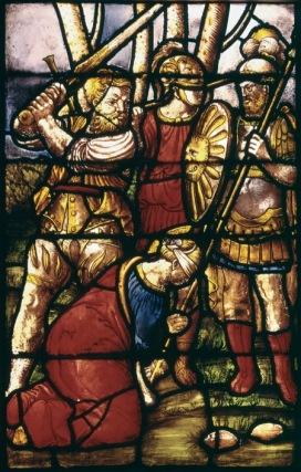 Giuseppe Arcimboldo Santa Caterina viene decapitata, ante 1556 Pannello di vetrata Milano, Duomo, vetrata di santa Caterina d'Alessandria