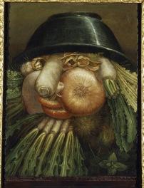 "Giuseppe Arcimboldo L'Ortolano (Priapo) / Ciotola di verdure, 1590-1593 circa Olio su tavola, 35,8x24,2 cm Cremona, Museo Civico ""Ala Ponzone"""