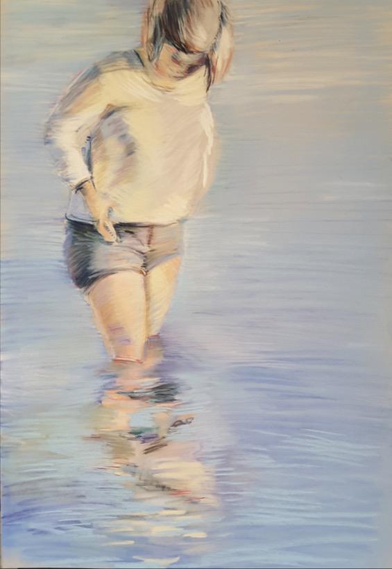 Simona Di Lascio_Bagnate #9, pastello cretoso su cartoncino pastelmat, 50 x 25 cm.-1