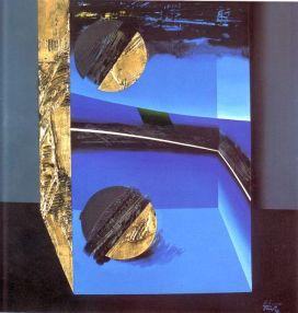Lino-Tardia---Luna-catturata---olio,-tempera,-acrilici,-materiale-vinilico-e-foglia-d'oro-zecchino-su-tela-cm.-70x70