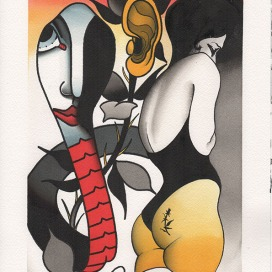 snake-and-lady-collaboration-acrylic-on-paper-23x31-450-eurosNocturnal-Emissions-parione9-roma
