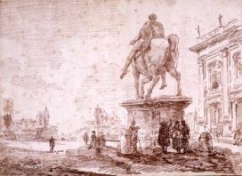 Hubert Robert, Piazza del Campidoglio, 1762, Collection Musée de Valence, art et archéologie, inv. D 64Foto © Musée de Valence, photo Philippe Petiot
