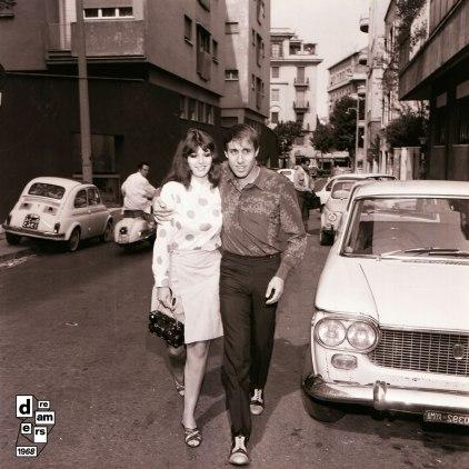 DREAMERS 1968 AGI conferenza stampa Adriano Celentano per film Serafino con la moglie Claudia Mori 1 ottobre