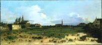Canaletto (1697-1768) Prato della Valle, con Santa Giustina e il monastero di benedettine, Santa Maria della Misericordia, Padova 1756 ca. olio su tela, cm 40 x 87,5 Collezione privata