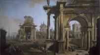 Canaletto (1697-1768) Capriccio con rovine 1723 olio su tela, cm 178 x 322 Svizzera, Collezione privata