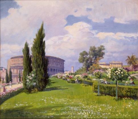 Carlo Montani, Colle Oppio, 1934, olio su tavola, Museo di Roma