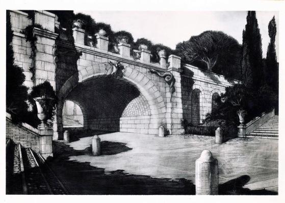Veduta progettuale del sottopassaggio tra l'impianto originale e l'ampliamento del Giardino Zoologico, 1927-1931, stampa fotografica di disegno, Archivio Storico Capitolino