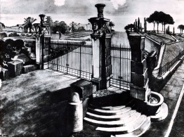 Veduta progettuale dell'ingresso del Parco del Colle Oppio presso il Colosseo, 1926-1927, riproduzione fotografica del disegno, Collezione privata