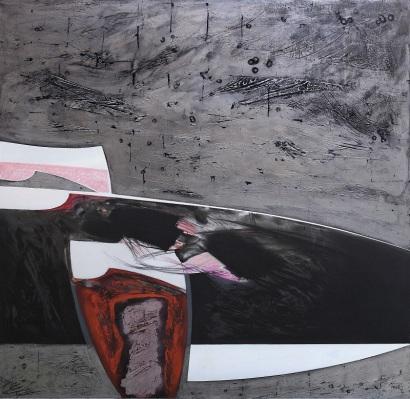 Lino Tardia - In viaggio con i Fenici - tecnica mista su tela cm 180x180