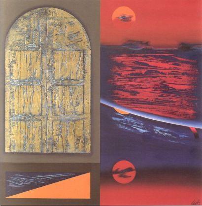 Lino Tardia - La porta di Itaca (2) - olio, tempera, acrilici, materiale vinilico e foglia d'oro zecchino su tela cm. 100x100