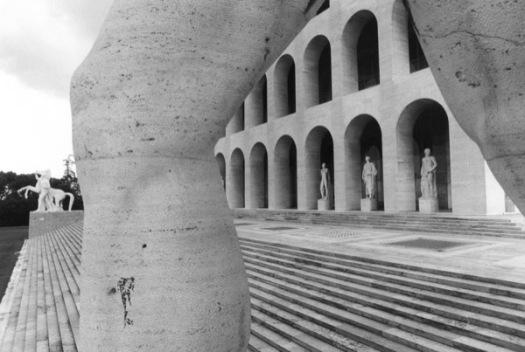 Tim Benton Palazzo della Civiltá Italiana, EUR (archs. Giovanni Guerrini, Ernesto La Padula and Mario Romano) Gelatine silver print, 1976 Tim Benton / RIBA Collections