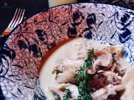 Sfilacci di coniglio con spuma di ostrica dello chef Alessio Tagliaferri (Achilli al D.o.m)