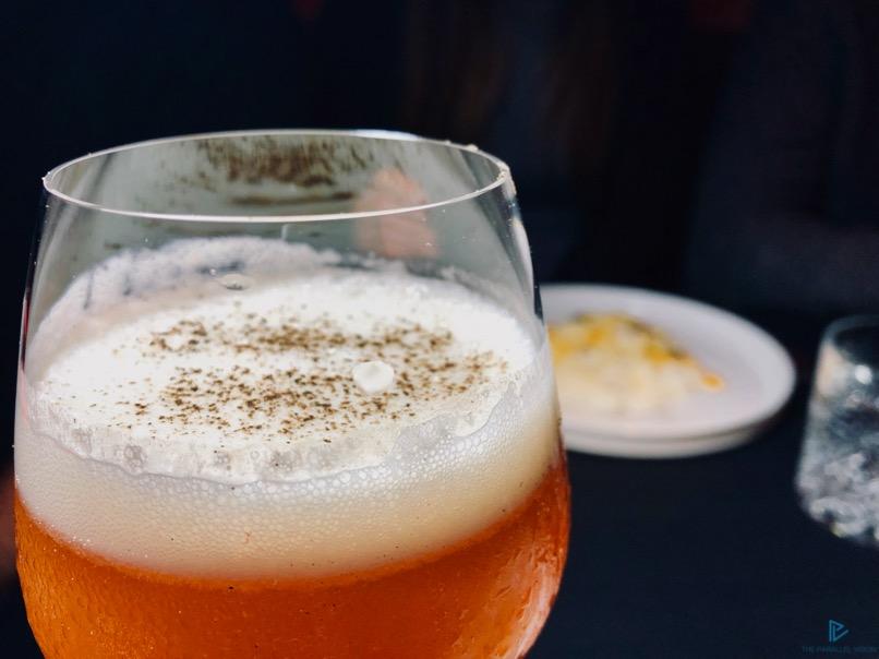 Cocktail del mixologist Paolo Barbini (Aleph Rome Hotel): Tequila Espolon blanca, liquore al mandarinetto, succo di pompelmo rosa, velluto di bergamotto e talisker, sciroppo homemade cannella, limone, pepe