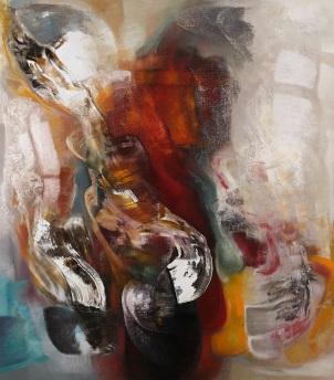 Piero Mascetti - Grande autunno in prima pagina - olio su tela cm 230x200