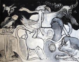 RvB-Arts_Lorenzo-Bruschini_Il-sogno-di-Delfi_2018_acrilico,-olio-e-collage-su-tela_145-x-185-cm_light