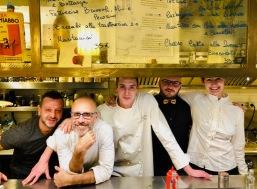 Da sinistra: Fabio Pecere (FAD), Edoardo Fraioli (Il Maritozzo Rosso), Alessandro Bergomi (L'Apulia), Stefano Franzon (My Martini) e Silvia Carpene (Gineria Buseto)
