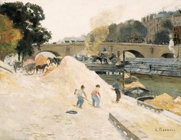 Camille Pissarro Au bord de la Seine à Paris. Le Pont-Marie vu depuis le quai d'Anjou, 1875 circa Olio su tela, 50x64 cm Collezione Pérez Simón, Messico