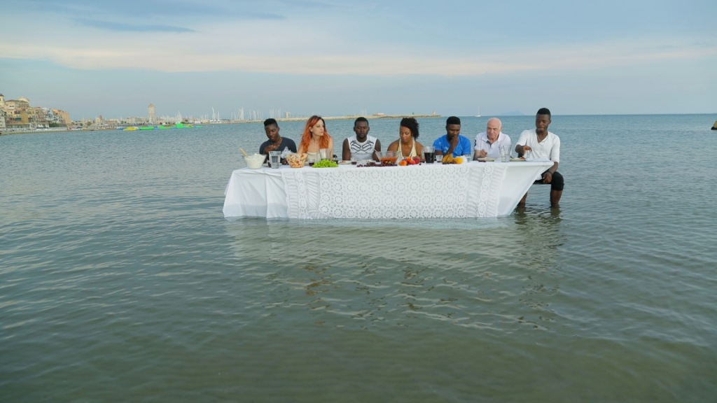 table-water-sea-dinner-people-white-and-black-are-eating