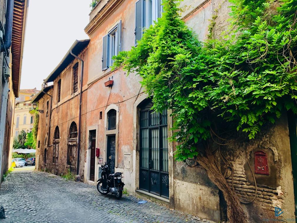 rioni-di-roma-the-parallel-vision-foto-trastevere-strade-monumenti-vicoli-edera-motorino