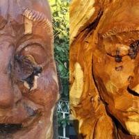 2 statue di legno di Gandini ora vi accolgono a Monterotondo