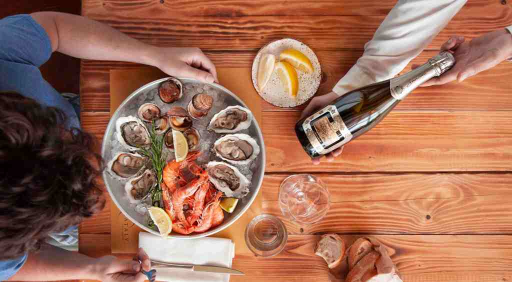 fish-wine-lemon-sea-fruit-bread-eating
