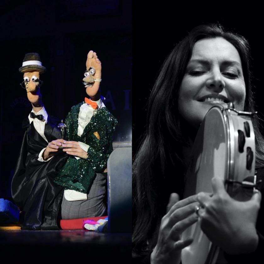 marionette-ragazza-con-tamburello-bianco-e-nero