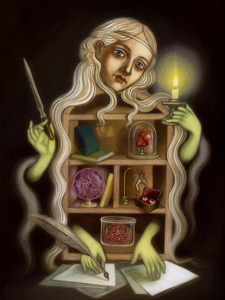 painting-blond-girl-candle-brain-bacheca-con-oggetti