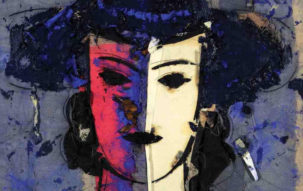 viso-donna-rosso-viola-bianco-giallo-dipinto