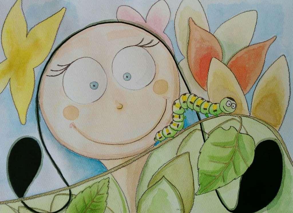 disegno-bambina-sorride-bruco-foglie-colorate-fiori