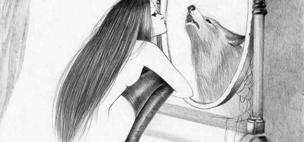 ragazza-specchio-lupo-calze-capelli
