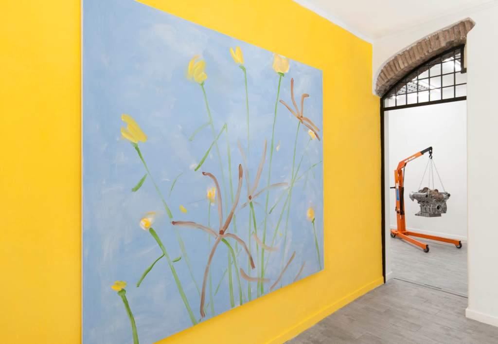 quadro-parete-gialla-gru-catene