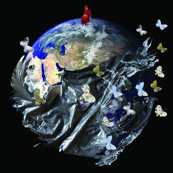 mondo-globo-terra-farfalle-uomo